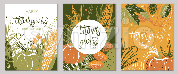 Set of autumnal cards with corn, pumpkins, leaves and twigs. Happy thanksgiving. Place for text. Vector