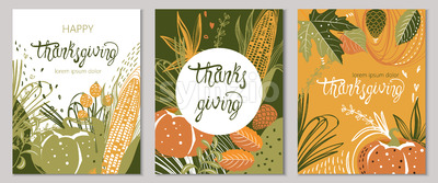 Set of autumnal cards with corn, pumpkins, leaves and twigs. Happy thanksgiving. Place for text. Vector Stock Vector