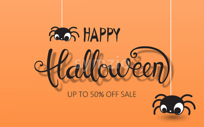 Happy halloween composition with two spiders hanging down. Up to 50 off sale. Vector Stock Vector