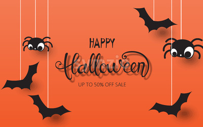 Happy halloween composition with spiders and bats hanging down. Up to 50 off sale. Vector Stock Vector