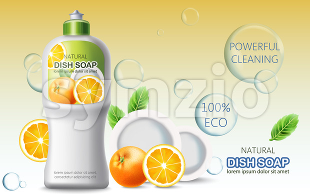 Bottle of dish soap surrounded by bubbles, oranges and plates. Ecological powerful cleaning. Place for text. Realistic 3D mockup product placement. Stock Vector