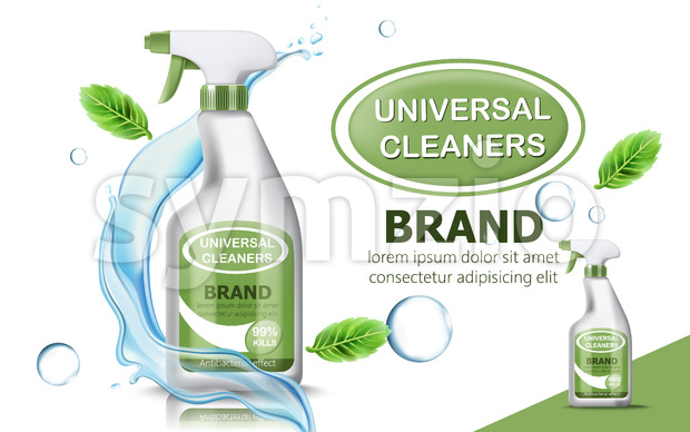 Bottle of universal cleaner surrounded by bubbles, mint leaves, and flowing water. Place for text. realistic 3D product placement. Vector
