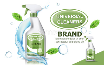 Bottle of universal cleaner surrounded by bubbles, mint leaves, and flowing water. Place for text. realistic 3D product placement. Vector Stock Vector