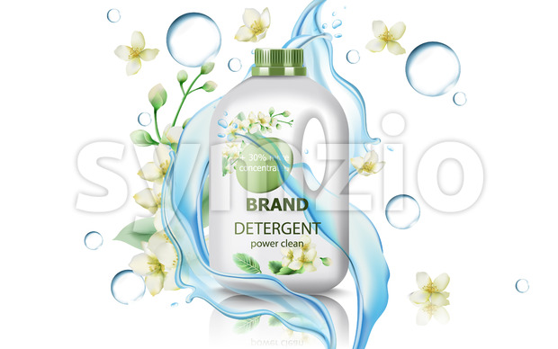 Jerrycan with detergent surrounded by flowers, bubbles and flowing water. Concentrated clean power. Realistic 3D mockup product placement. Vector Stock Vector