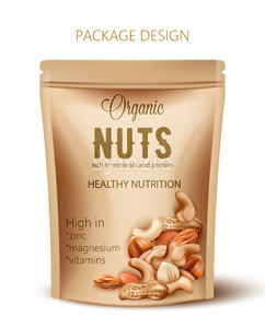 Package with organic nuts. Rich in minerals and protein. Healthy nutrition, high in zinc, magnesium and vitamins. Realistic 3D mockup product Stock Vector