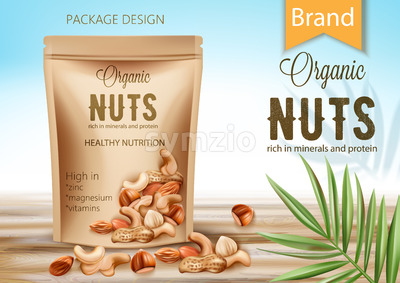 Package with organic product surrounded by palm leaf and nuts. Rich in minerals and protein. Healthy nutrition, high in zinc, magnesium and vitamins. Stock Vector