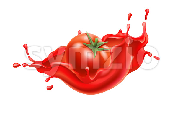 Composition of a tomato submerged in flowing red liquid. Realistic 3D. Vector Stock Vector