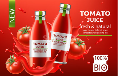 Two bottles with fresh and natural bio juice submerged in flowing liquid and tomatoes. Place for text. Realistic 3D mockup product placement. Vector Stock Vector