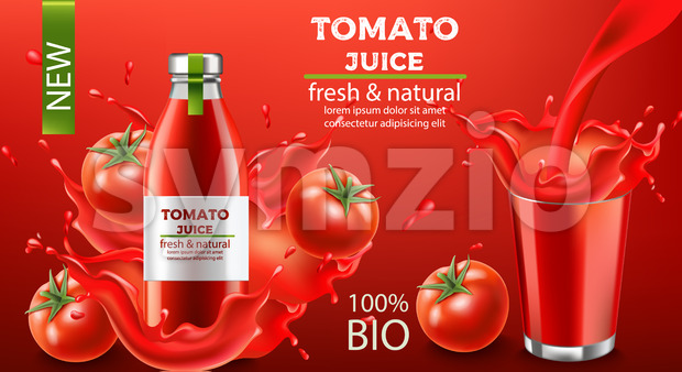 Bottle of fresh and natural bio juice submerged in flowing liquid and tomatoes with a cup of splashing fluid. Place for text. Realistic 3D mockup Stock Vector