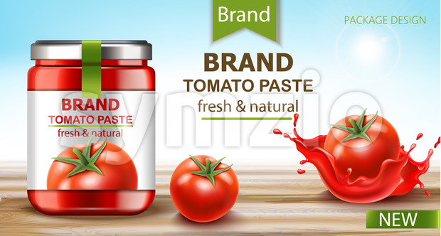 Jar with fresh and natural paste with tomatoes and flowing juice. Realistic 3D mockup product placement. Vector