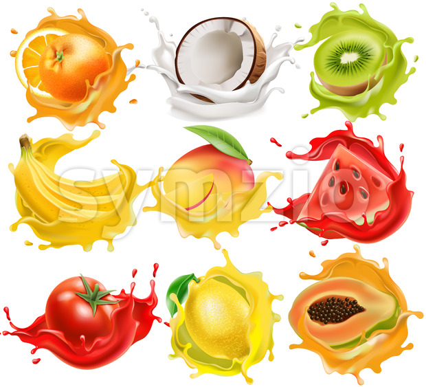 Set of tropical fruits and vegetables splashing in juice. Orange, coconut, kiwi, banana, mango, watermelon, tomato, lemon and papaya. Realistic ...
