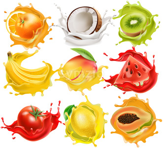 Set of tropical fruits and vegetables splashing in juice. Orange, coconut, kiwi, banana, mango, watermelon, tomato, lemon and papaya. Realistic 3D Stock Vector