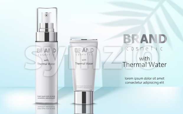 Composition of two containers with cosmetics, thermal water. Place for text. Realistic 3D mockup product placement. Vector