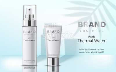 Composition of two containers with cosmetics, thermal water. Place for text. Realistic 3D mockup product placement. Vector Stock Vector