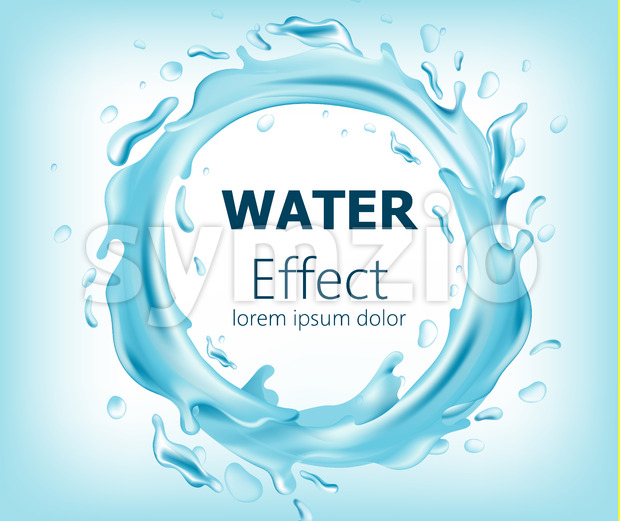 Abstract circle of flowing water. Place for text. Realistic 3D mockup product placement. Vector