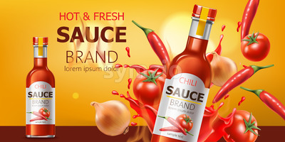 Two bottles with hot and fresh chili sauce, submerged in liquid, tomatoes, chili and onions. Place for text. Realistic 3D mockup product placement. Stock Vector