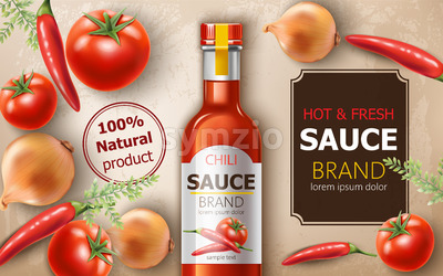 Bottle of fresh and hot natural chili sauce surrounded by tomatoes, onions and peppers. Place for text. Realistic 3D mockup product placement. Vector Stock Vector