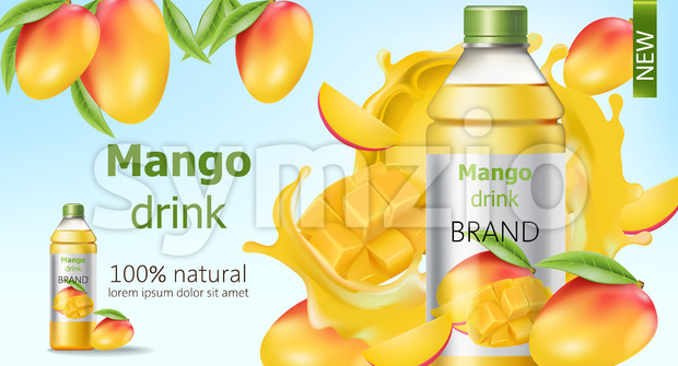 Bottle of natural mango drink surrounded by sliced and whole fruits and flowing juice. Place for text. Realistic 3D mockup product placement. Vector Stock Vector