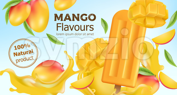 Natural flavoured mango popsicle surrounded by whole and sliced fruit and flowing juice. Place for text. Realistic 3D mockup product placement. Vector Stock Vector