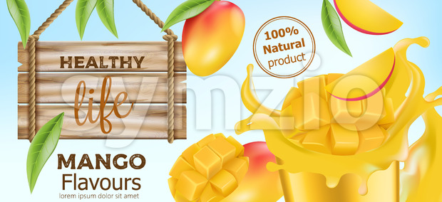 Natural whole and sliced mango with flowing juice around and a wooden sign near by. Product for healthy life. Place for text. Realistic 3D mockup Stock Vector