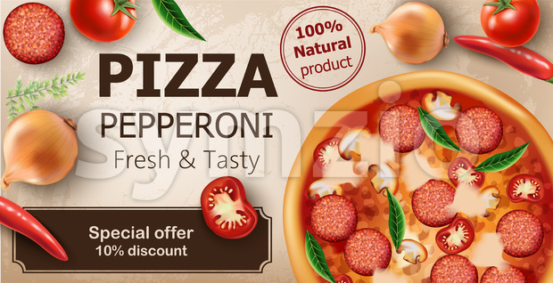 Fresh and tasty pepperoni pizza with tomatoes, chilli peppers, onions, basil and salami surrounding. Special offer 10 discount. Realistic 3D mockup Stock Vector