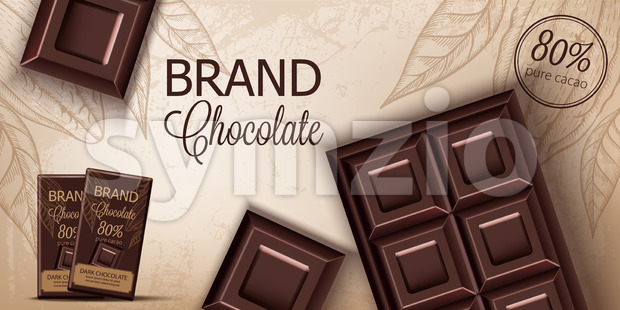Chocolate bar and packaging on retro background. Place for text. Realistic 3D mockup product placement. Vector