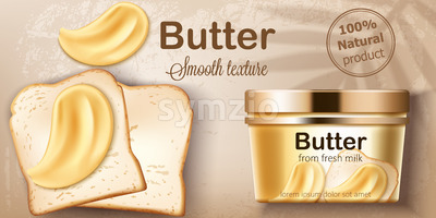 Container with natural butter from fresh milk. Spreading on toasted bread. Natural smooth texture. Place for text. Realistic 3D mockup product Stock Vector