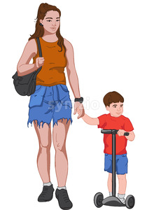 Young mother in jeans skirt and brown t-shirt holding hands with her son dressed in red and blue clothes while he is riding kick scooter. Vector Stock Vector
