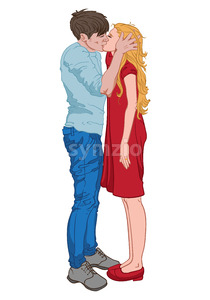 Man in blue clothes kissing a blonde woman dressed in red. Vector Stock Vector