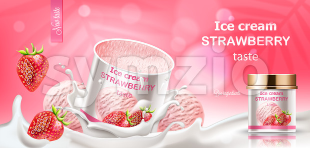 Strawberry ice cream jar submerged in milk with dropping berries and balls. Bio ingredients. Realistic 3D mockup product placement. Vector Stock Vector