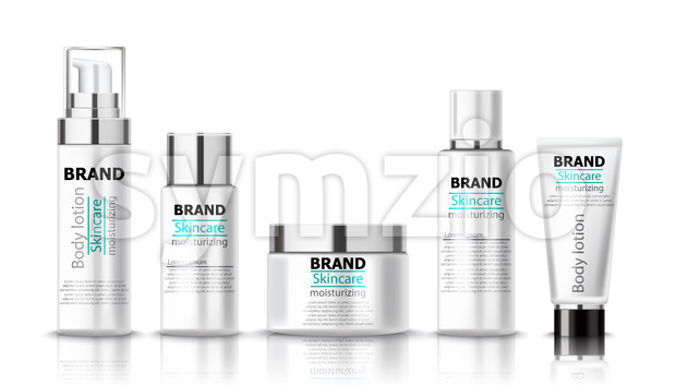 Set of moisturizing body lotion for skincare. Place for text. Realistic 3D mockup product placement. Vector Stock Vector