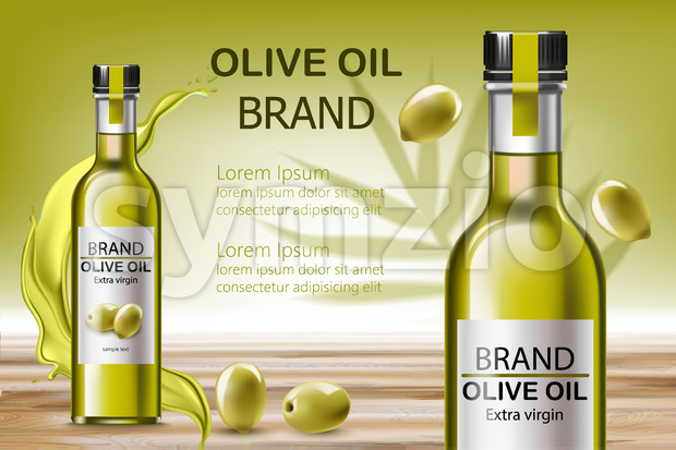 Two bottles with extra virgin oil. Surrounded by flowing liquid and olives. Place for text. Realistic 3D mockup product placement. Vector Stock Vector
