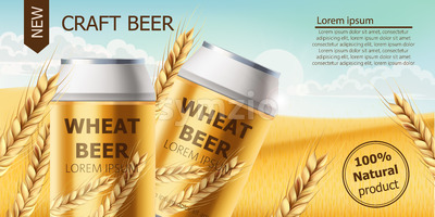 Two cans with craft beer in a field full of wheat grains. Blue cloudy sky. Realistic 3D mockup product placement. Place for text. Vector Stock Vector
