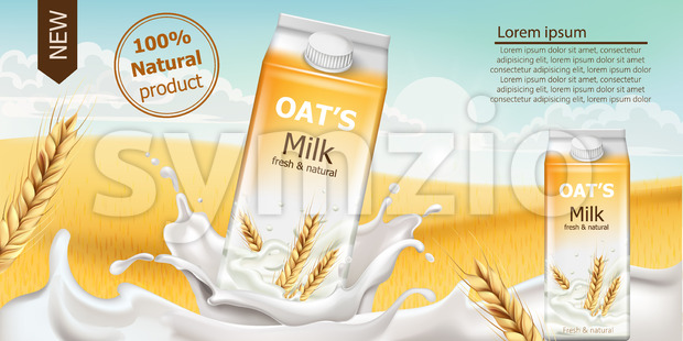 Carton box with fresh and natural oat milk in a field full of grains. Blue cloudy sky. Realistic 3D mockup product placement. Place for text. Vector Stock Vector