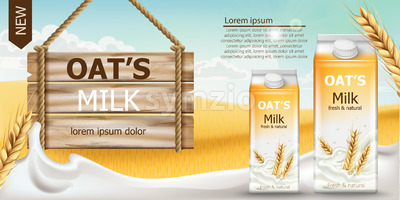 Two carton boxes with fresh and natural oat milk in a field full of grains. Blue cloudy sky. Wooden sign. Realistic 3D mockup product placement. Place Stock Vector