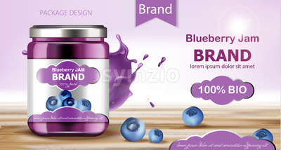 Jar filled with BIO jam surrounded by blueberries and flowing liquid. Place for text. Realistic 3D mockup product placement. Vector Stock Vector