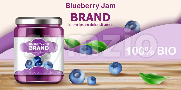 Jar filled with BIO jam surrounded by blueberries and purple waves in background. Place for text. Realistic 3D mockup product placement. Vector Stock Vector