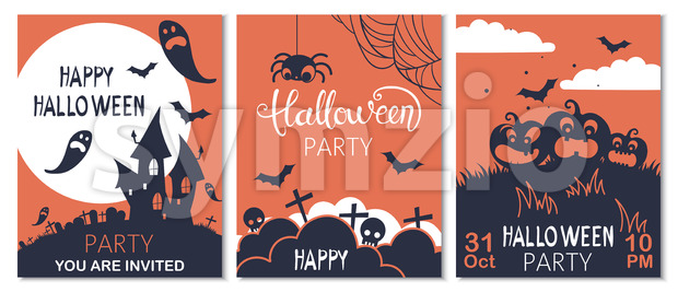 Set of halloween cards with carved pumpkins, spiders and bats. Party invitation. Vector Stock Vector