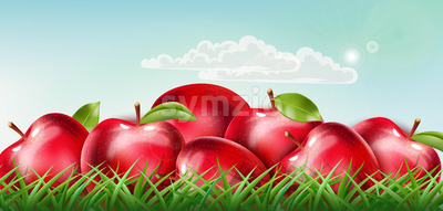 Pile of red apples laid down on the grass with clouds floating on sunny sky. Realistic 3D mockup product placement. Vector Stock Vector