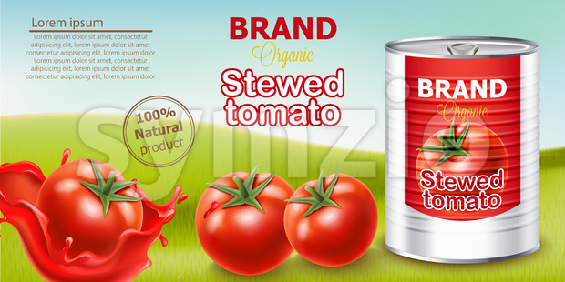 Metallic can standing on meadow surrounded by tomatoes. Place for text. Natural and organic stewed product. Realistic 3D mockup product placement. Stock Vector