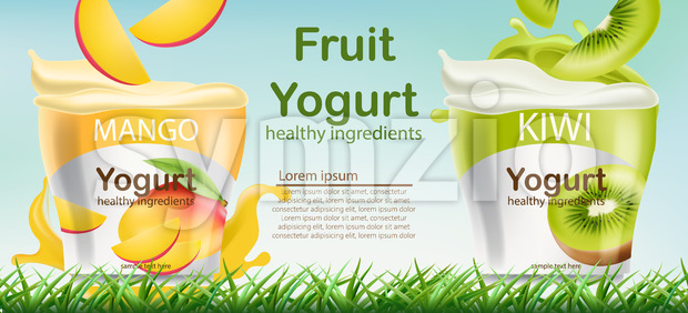 Two containers with mango and kiwi fruits yogurt on grass. Place for text. Healthy ingredients. Realistic 3D mockup product placement. Vector Stock Vector