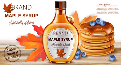 Bottle of natural sweet maple syrup with stacked pancakes with blueberries and autumnal leaves in background. Place for text. Realistic 3D mockup Stock Vector