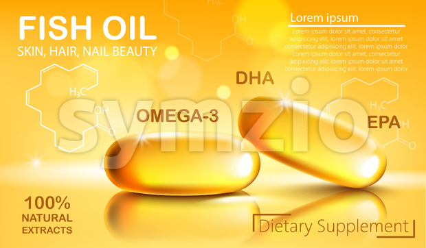 Two shiny capsules with natural extract of fish oil for skin, hair and nail beauty. Dietary supplement with Omega 3, DHA and EPA. Place for text. Stock Vector