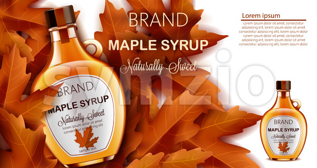 Bottle of naturally sweet maple syrup submerged in autumnal leaves. Place for text. Realistic 3D mockup product placement. Vector Stock Vector
