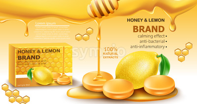 Honey and lemon drops with natural extracts. Calming effect. Antibacterial and anti-inflammatory. Place for text. Realistic 3D mockup product Stock Vector
