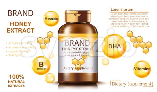 Bottle with natural honey extract for dietary supplement and health benefits. Contains minerals and vitamins. Place for text. Realistic 3D mockup Stock Vector