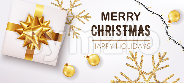 White christmas box with ribbon and golden decorations and festive lights in background. Happy holidays. Realistic 3D mockup product placement. Vector Stock Vector