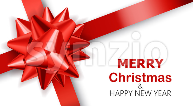 Plain white background with red ribbons. Merry Christmas and happy new year. Realistic 3D mockup product placement. Vector Stock Vector
