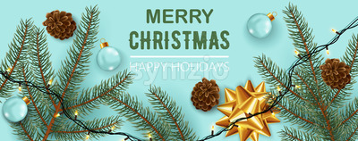Christmas decorations composition, Pine cones, twigs, festive lights, ribbons, and clear sphere. Happy holidays. Realistic 3D mockup product Stock Vector