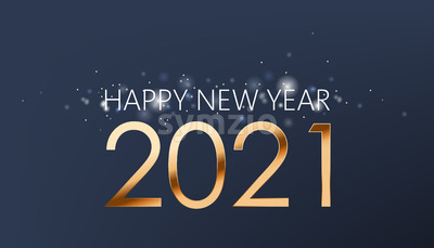 New year composition of golden numbers and silver sparkles on dark blue background. Realistic 3D mockup product placement. Vector Stock Vector